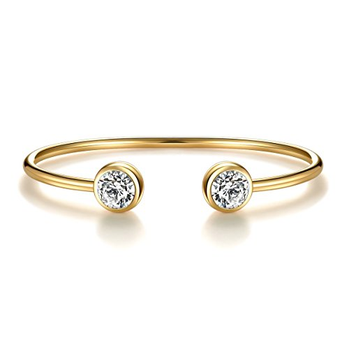 Rose Gold Silver Tone Cuff Bangle Bracelet Zirconia Crystal Stone Jewelry for Women (Yellow Gold) (Gold Bracelets Bangle Real)