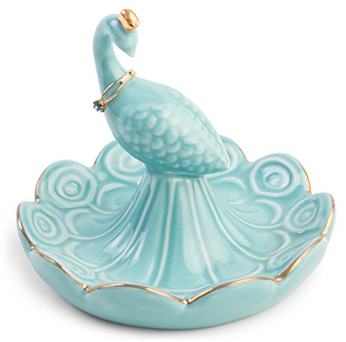 Peacock Displays - Monarch Housewares Peacock Ring Holder - Engagement and Wedding Ring Holder - Ring Dish - by