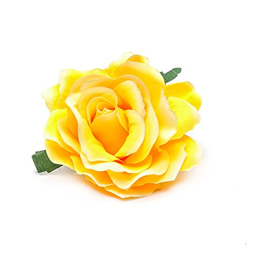 Rose Flower Hair Clips Flower Brooch Pin Hairpin for Women NFJ03 - Rose Brooch Yellow