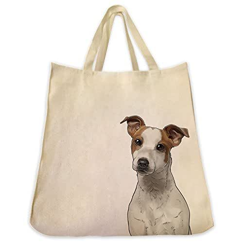 Jack Russell Portrait Color Design Extra Large Eco Friendly Reusable Cotton Twill Grocery Shopping Tote Bag