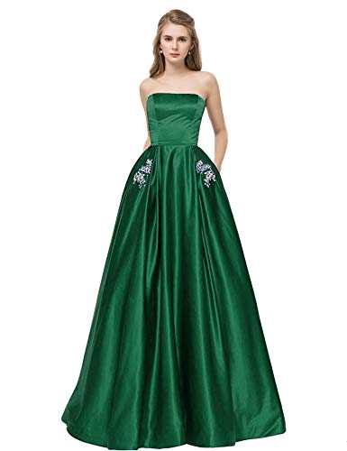 Libaosha Satin Strapless Formal Gowns with Beaded Pockets Lace Up Back Prom Dresses Long (US14, Green)