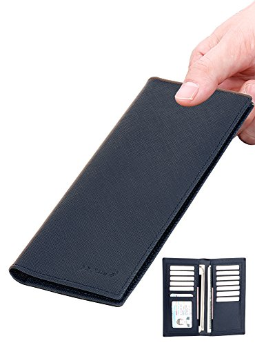- Slim Wallet Leather Long Bifold Wallet Card Holder with RFID Blocking navy