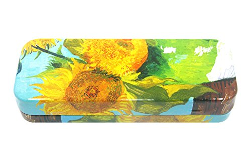 DAHO Mega Tin Pencil / Storage Box with World Famous Arts for Office, Home, Makeup, Accessories Storage (Sunflower) (Tin Case Box)