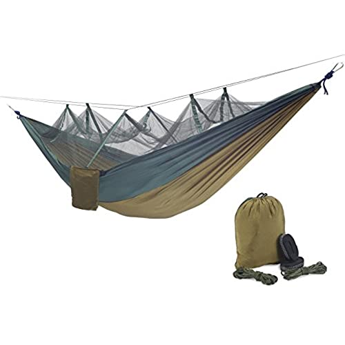 qyuhe portable nylon fabric travel camping hammock with mosquito   8 53 x 4 6 ft  green and camel 8 53 x 4 6 ft  winter hammock  amazon    rh   amazon