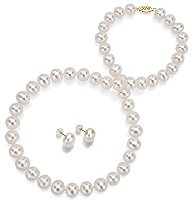"14k Gold White Freshwater Cultured Pearl Necklace 18"" and Stud Earrings Set Women Jewelry"
