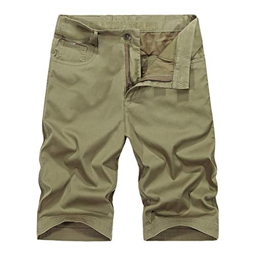 XLnuln Men Summer Relaxed Fit Fit Outdoor Cargo Shorts Outdoors Casual Loose Patchwork Beach Overalls Shorts Pants Khaki ()
