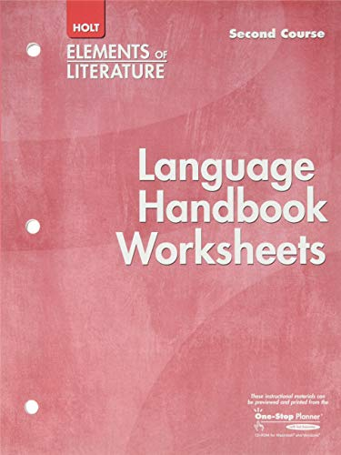 Language Handbook Worksheets Holt Elements of Literature Second Course Grade 8