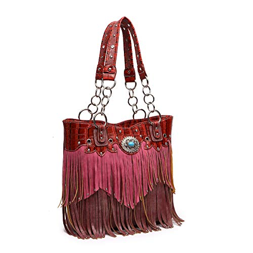 Purple Tote Handbag Bag Fringe Western burgundy Bag xqESIpqwr