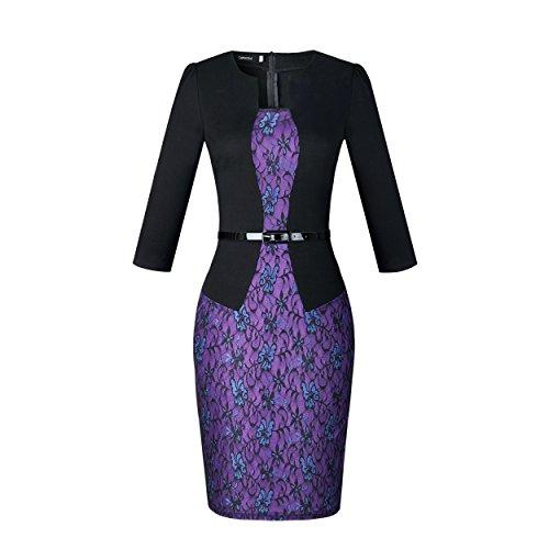 Caracilia Women Wear to Work Business Party Bodycon One-Piece Dress M/9-1 Colorblock Jacket Dress