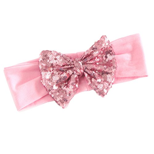 Price comparison product image Baby Headbands with Bow - Messy Code Fashion Cute Girl Sequin Bowknow Boutique Hair Hoops for Toddlers pink