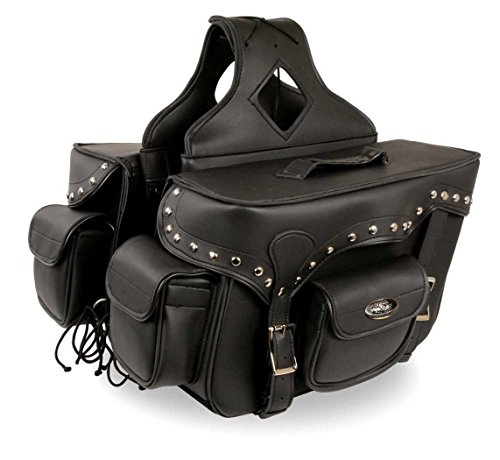 - TWO PIECE MOTORCYCLE MOTORBIKE STUDDED DOUBLE STRAP ZIP OFF SADDLEBAG BLACK NEW