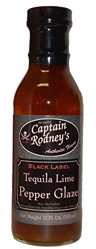 Bottle 12 Oz Label (Captain Rodney's Black Label Tequila Lime Pepper Glaze - 12 Ounce)