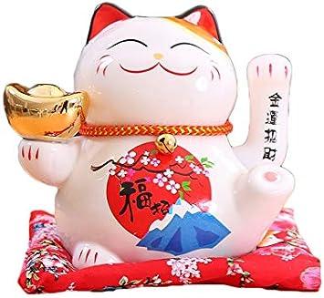 Chat Chinois Porte Bonheur en Porcelaine-Feng Shui Porte Dore,Blanc L16*W14*H16cm Maneki Neko /à Bras Mobile A