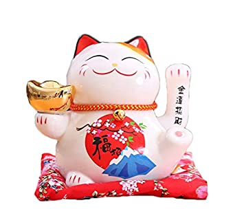Maneki Neko Porcelana Gato de la Suerte Afortunado Gato agitando el Brazo Waving Arm Lucky bendición,Blanco L16*W14*H16cm, F: Amazon.es: Hogar