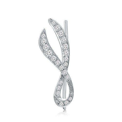 MaBelle 18K White Gold Diamond Pave Style Ribbon Single Ear Cuff / Ear Warp (1/10 cttw) by MaBelle