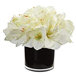 Nearly Natural Amaryllis Artificial Glossy Cylinder...