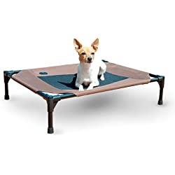 "K&H Pet Products Original Pet Cot Elevated Pet Bed Medium Chocolate/Mesh 25"" x 32"" x 7"""