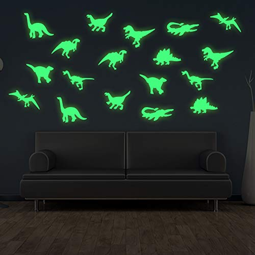 (45 pcs Dinosaurs Luminous Wall Stickers,3D Glow in Dark Dinosaurs Wall Decorative for Baby Children Room Wall Decals)