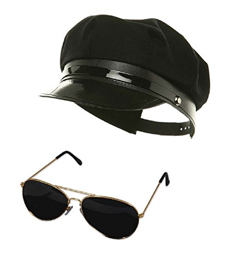 Nicky Bigs Novelties Black Chauffeur chauffer Hat Aviator Glasses Police Officer Limo Driver - For Police Sunglasses Officers