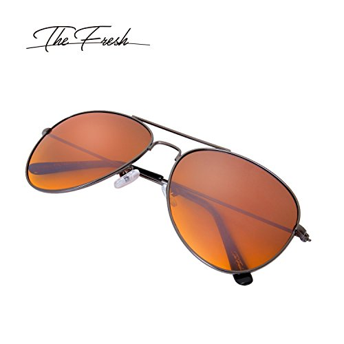The Fresh HD High Definition Vision Driving Golf Classic Large Metal Frame Blue Blocker Lens Aviator Sunglasses with Gift Box by The Fresh (Image #2)