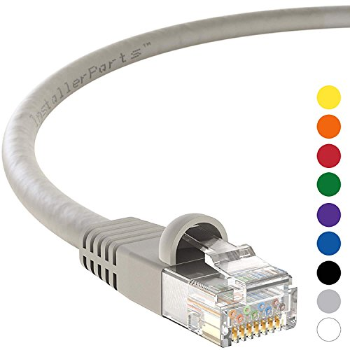 InstallerParts Ethernet Cable CAT5E Cable UTP Booted 50 FT - Gray - Professional Series - 1Gigabit/Sec Network/Internet Cable, 350MHZ