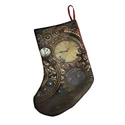 Christmas Stockings Personalized Steampunk Clocks Holders Xmas Holiday Stocking Tube Socks