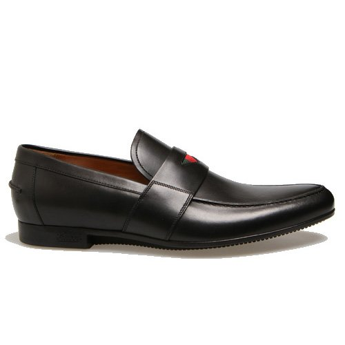 Gucci Mens Moccasin in Black Leather with Web Detail G0033 USA Size 6 (Printed Size 5) G0034