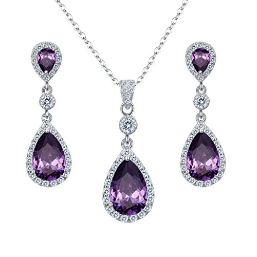 EleQueen 925 Sterling Silver Full Cubic Zirconia Teardrop Bridal Pendant Necklace Dangle Earrings Set Amethyst Color