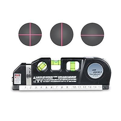 Laser Tape Rulers,CarBoss Multipurpose Laser Level laser measure Line 8 FT/2.5M Measure Tape Ruler Adjusted Standard and Metric Rulers Tools -Best Professional Craftsman Self Leveling Laser leveler