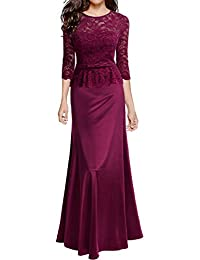 Miusol Women's Retro Floral Lace 2/3 Sleeve Slim Peplum Formal Long Evening Dress