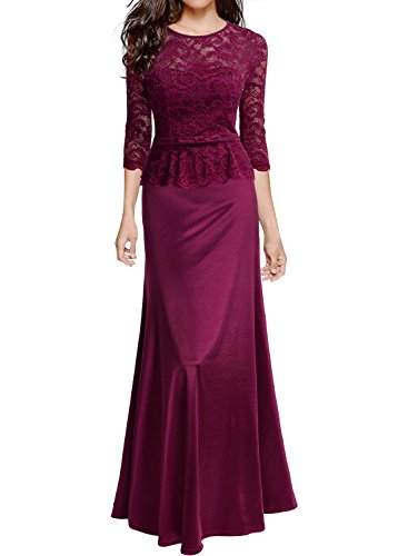 Miusol Women's Retro Floral Lace 2/3 Sleeve Slim Peplum Wedding Maxi Dress, I-wine Red, XX-Large