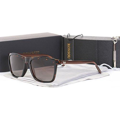Ronsou Men Women Stylish Polarized Sunglasses 100% UV400 Protection Sun Glasses For Driving Fishing Golf leopard frame/brown - Leopard Men Sunglasses