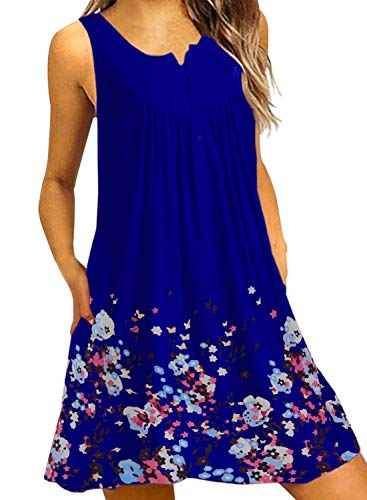 (Eytino Women Casual Loose Florall Print Sleeveless Mini Sundress Beach Dress,X-Large Blue )