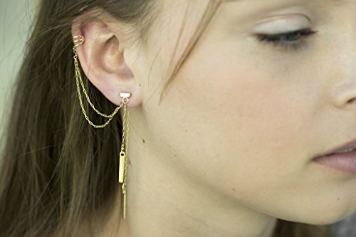 Handmade Designer Unique Gold Plated Ear Cuff - Multi Strand Double Sided Ear Wrap Dangle Earring with Drop Bars
