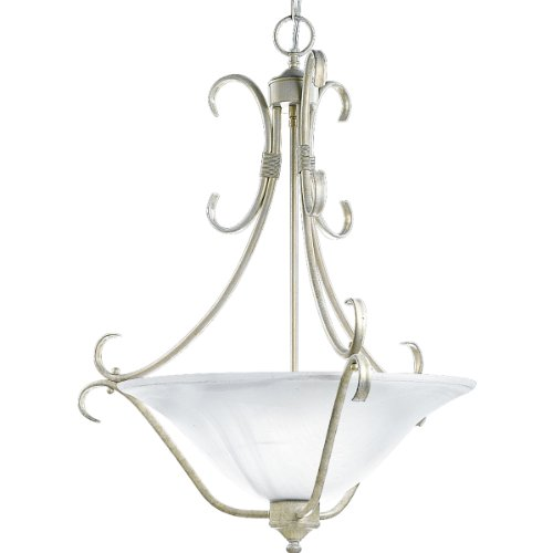 Progress Lighting P3644-18 Three-Light Fixture with White Alabaster Style Glass, Venetian (Venetian Gold Three Light Chandelier)