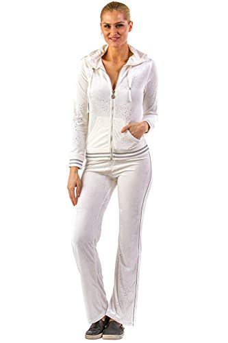 Vertigo Paris Women's Logo Velour Lounge Tracksuit Jog Set - White - Medium (Tracksuit Logo)