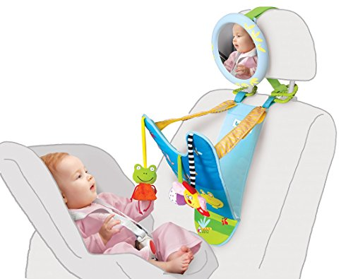 Taf Toys In-Car Play Center | Parent And Baby's Travel Companion, Keeps Both Relaxed While Driving, Mirror To Watch Baby From Driver's Seat, Enables Easier Drive And Easier Parenting. (Bells Toy Dangle)