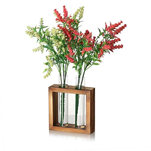 Nesee Plant Holder Glass Vase Flowers Planter Pot Hydroponic Terrarium Container with Wood Stand for Home Coffee Shop Room Table Party Wedding Decor
