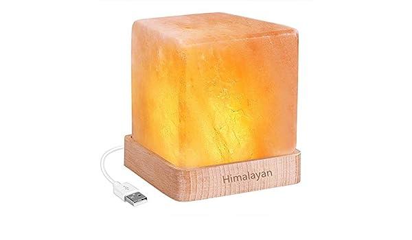 QJIN Luz de Noche LED USB Recargable lámpara de Sal del Himalaya ...