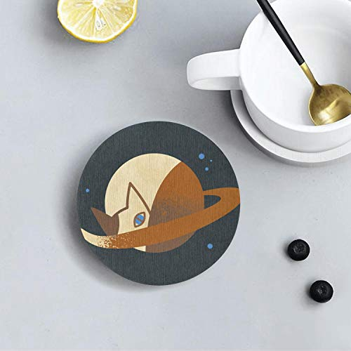 Saturn cat planet Environmentally Friendly Insulation Custom Round Coaster Absorbent Pad