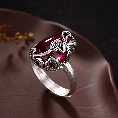 MAFYU S990 Sterling Silver Inlaid Gem Lady Simple Retro Butterfly Lotus Ring Send Family Friend Birthday Graduation Gift Gift to Dear People -