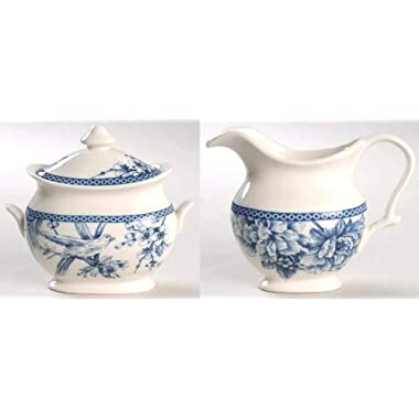 222 Fifth Adelaide Blue & White Bird Toile Creamer and Lidded Sugar Bowl Set