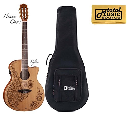 Luna Guitars Henna Oasis - Luna Henna Oasis Acoustic/Electric Guitar w/ Case, Satin Finish, HEN O2 NYL