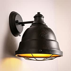 QIANG Satin Black 1 Light Barn Style Wall Sconce