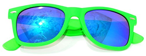 (Stylish Vintage Blue Mirror Lens Sunglasses Green Frame Uv Protection )