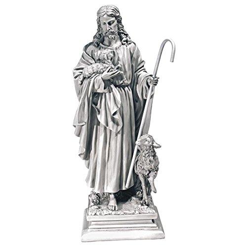 Design Toscano Jesus The Good Shepherd Religious Garden Statue, Large, 28 Inch, Polyresin, Antique ()