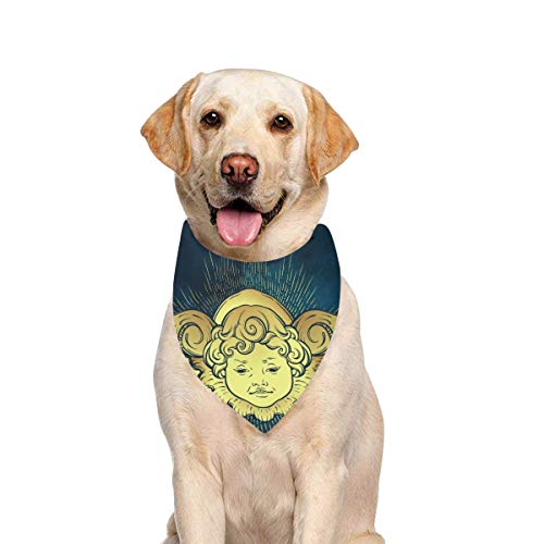 JTMOVING Dog Scarf Gold Cherub Cute Winged Curly Smiling Printing Dog Bandana Triangle Kerchief Bibs Accessories for Large Boy Girl Dogs Cats Pets Birthday Party ()