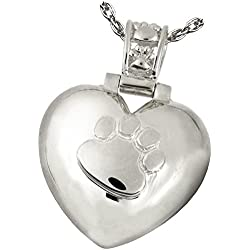 Memorial Gallery Pets 3245s Paw Print Heart with Sterling Silver Cremation Pet Jewelry