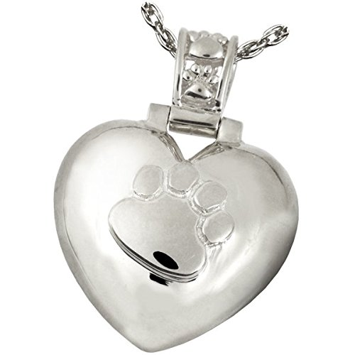 Memorial Gallery Pets 3245s Paw Print Heart with Sterling Silver Cremation Pet Jewelry by Memorial Gallery Pets
