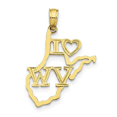 10K Yellow Gold Solid West Virginia State Small Charm Pendant ()